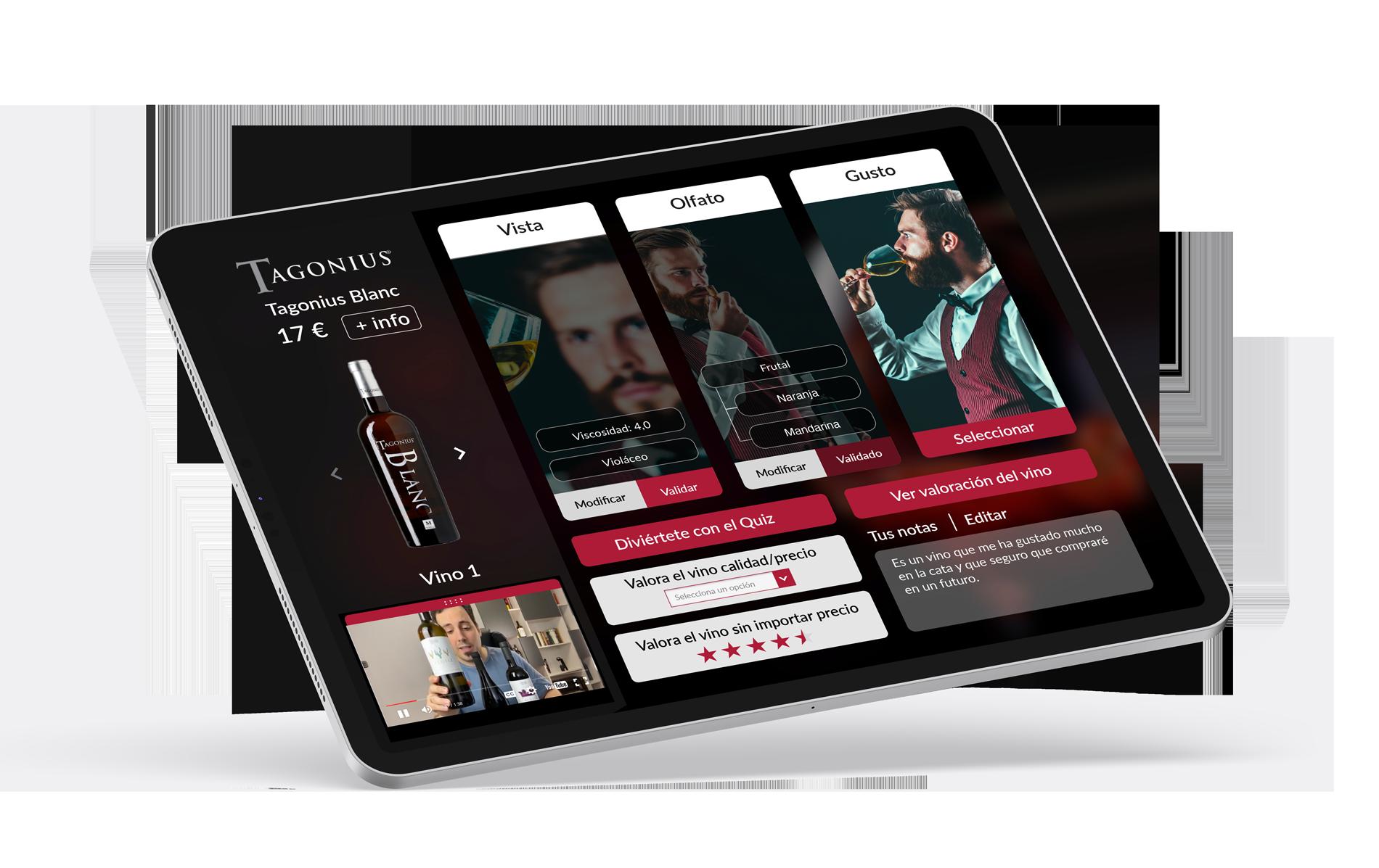 ipad upwine app - DISEÑO DIGITAL PARA STARTUP DE CATAS DE VINO ONLINE